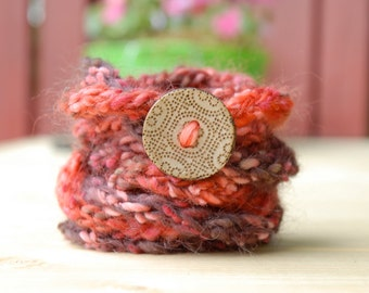 SALE Knit Cord Bracelet with Wooden Button, Fashion Accessory, Jewelry