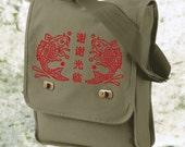 Messenger Bag, book bag, computer bag, Koi Bag, Koi Fish Bag, Asian tote