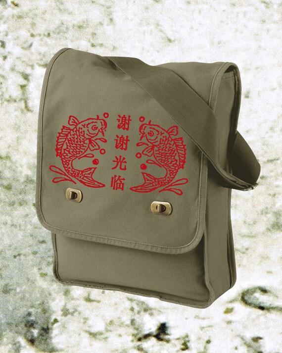 Items similar to messenger bag book bag computer bag for Koi fish purse