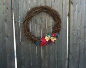Grapevine Wreath with Wool Flowers