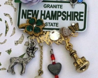 NEW HAMPSHIRE PiN-  The Granite  State -  BROOCH - License Plate Jewelry