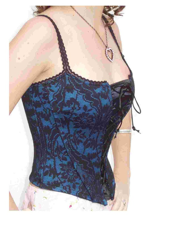 STEAMPUNK  CORSET - BlACK Chantilly Lace on Blue BODiCE  - SiZE SMALL