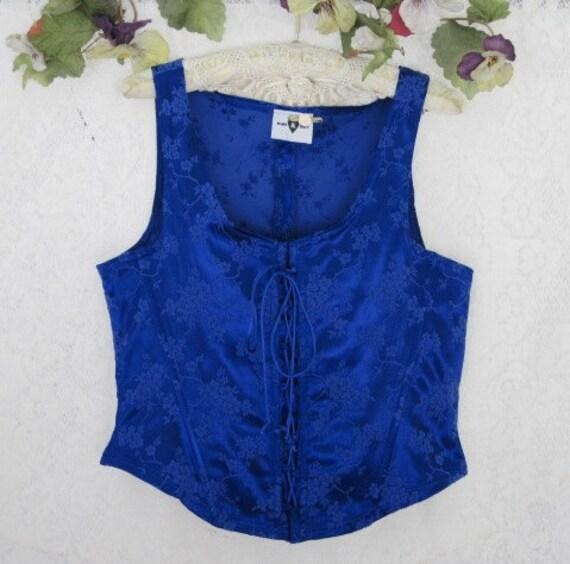 Royal Blue CORSET Rose Brocade -  Size  X-LARGE - Sale