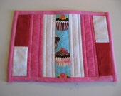 Mug Rug - Quilted Cupcakes - Red, Pink and White