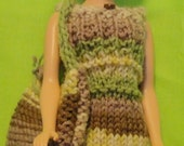 Barbie green and brown stripe dress with hat and bag