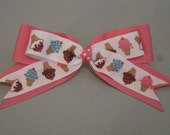 ICE CREAM Cone Summer DOG Bow Pink Velcro Straps ((Perfect for all sizes))