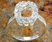 9x7mm Semi mount Sterling CZ Silver Ring setting