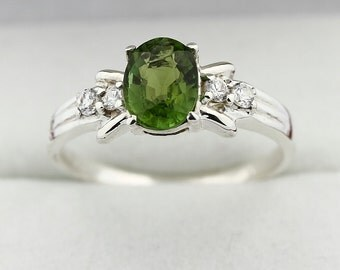 1 ct Natural Green Tourmaline Solid 14K White Gold Diamond Ring