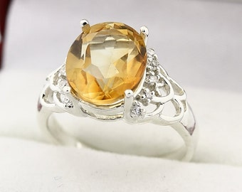 Natural Golden Yellow Citrine Solid 14K White Gold Diamond Ring