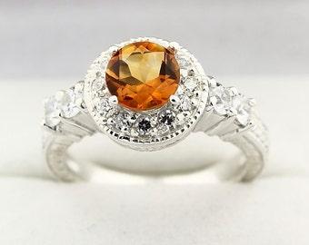 Yellow Citrine Solid 14K White Gold Diamond Ring-Antique