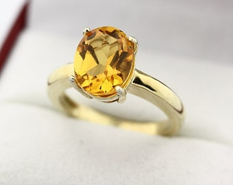 Natural Yellow Citrine Solid 14K Yellow Gold Solitaire Ring