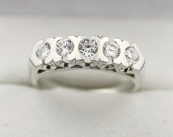 Natural Diamond Antique Wedding Band Ring 14k White Gold