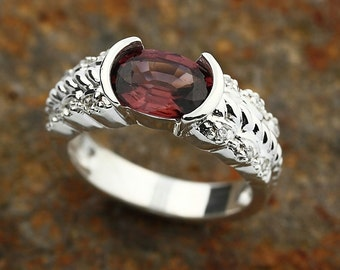 Natural Rich pink red Zircon Solid 14K White Gold Diamond Ring