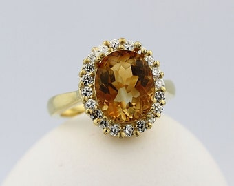 Natural Yellow Citrine Solid 14K Yellow Gold Diamond Ring