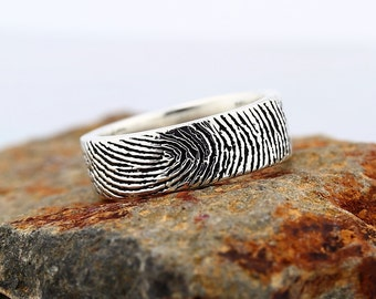 Your Custom Fingerprint Ring - Sterling Silver  Engraving Wedding  Band - Blackened style