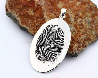 Your Custom Fingerprint Oval Pendant with bale - Sterling Silver  Engraving pendant with chain