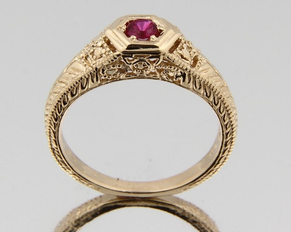 vintage solid 14k yellow gold lab created ruby ring. Black Bedroom Furniture Sets. Home Design Ideas