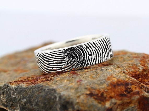 reserved for Dee Komisar - Your Custom Fingerprint Ring - Sterling Silver  Engraving Wedding  Band