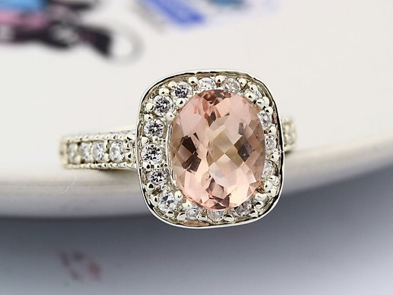 Natural Checkerboard Cut Morganite  Solid 14K White Gold Diamond engagement Ring-antique style