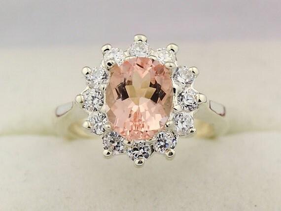 Natural Morganite  Solid 14K White Gold Diamond Ring