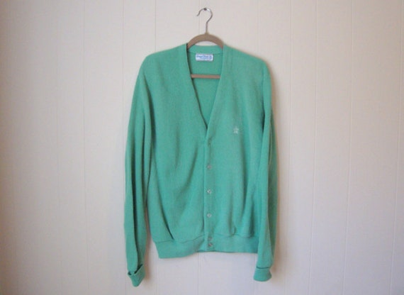 Vintage Cardigan Sweater Mint Green Grandpa Sweater By