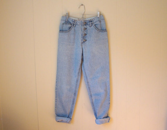 RETRO GUESS Jeans - Light BLUE Denim - Exposed Button-Fly - Slouch Fit - Boyfriend Jeans