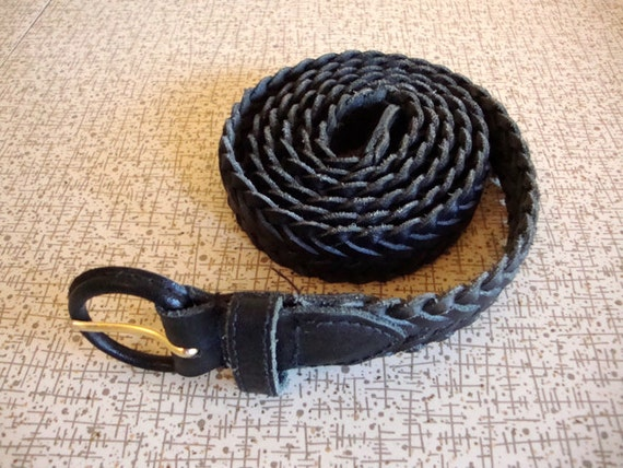 Braided Black Belt - EXTRA Long - Extra Love - Woven LEATHER - Black Belt