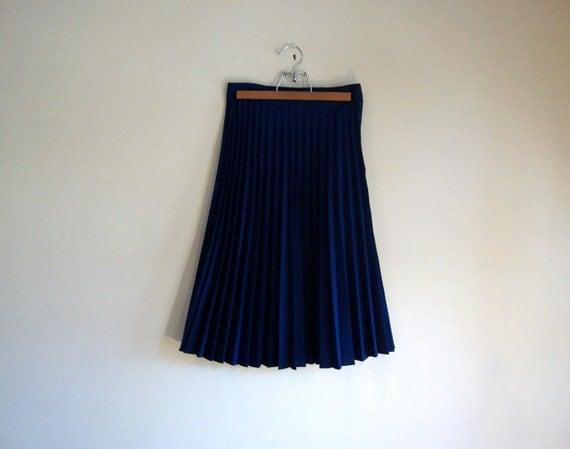 PLEATED Navy Blue Midi SKIRT - Retro TREND Skirt