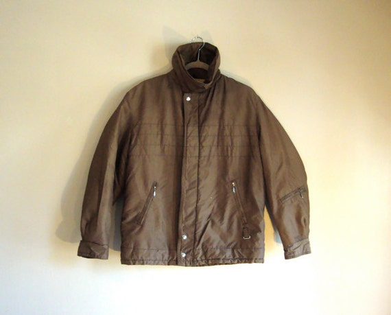 Brown Nylon Bomber Jacket - Gold Lining - Chest Stitched Stripes