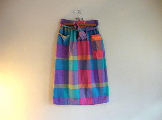 SALE - Womens SKIRT - Bright Color Blocks - Checkered Ladies SKIRT