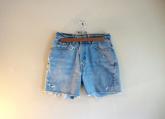 SALE - ALTERed Levis Shorts - Denim Cut-Offs - Tattered Retro High Waisted DENIM