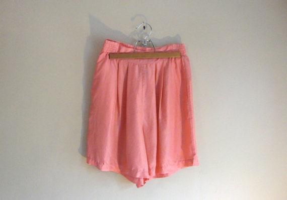 Silk Shorts - High Waisted - PINK - Retro Pleated Shorts