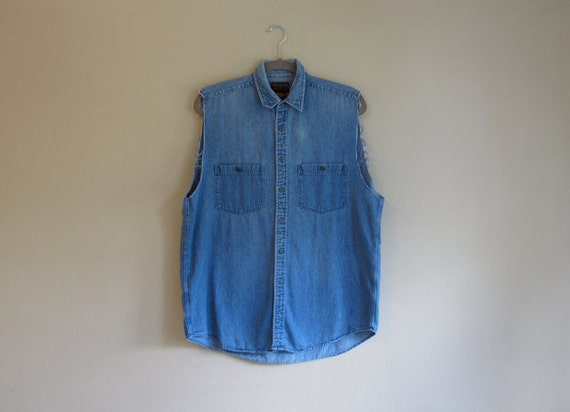 Cut-Off Sleeve DENIM Shirt - Loose Fit - AltERed Vintage Top - Sleeveless Denim