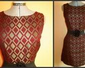 """SALE - Vintage 1960's  Burgandy Brocade """"Polemique Paris"""" mini dress"""