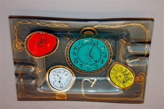 """Vintage Higgins """"POCKET WATCHES"""" ashtray by Higgins Art Glass Price Lowered"""