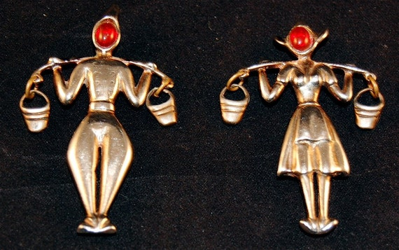 """Vintage """"DUTCH BOY & GIRL"""" sterling pins with red glass faces"""