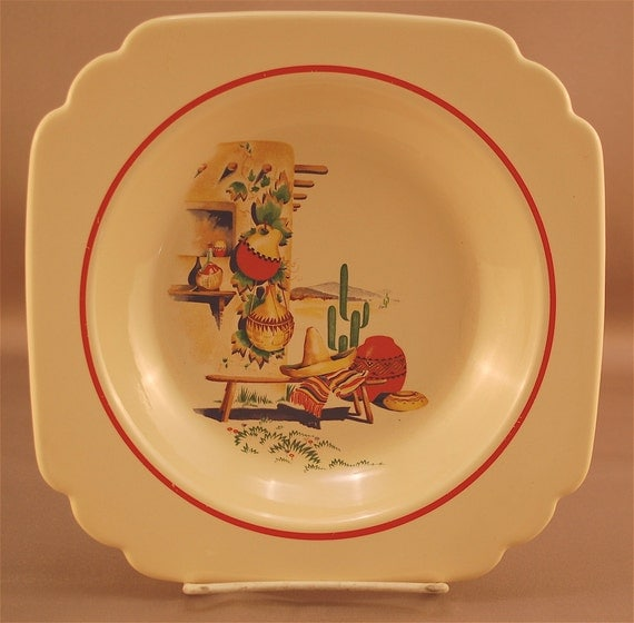 "Reserved for MoonHollowProducts Price Lowered Vintage ""HACIENDA"" deep plate/flat soup bowl by the Homer Laughlin China Co."