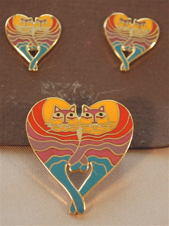 """Price Lowered Vintage """"RAINBOW CAT"""" pierced earrings and pin set by Laurel Burch"""