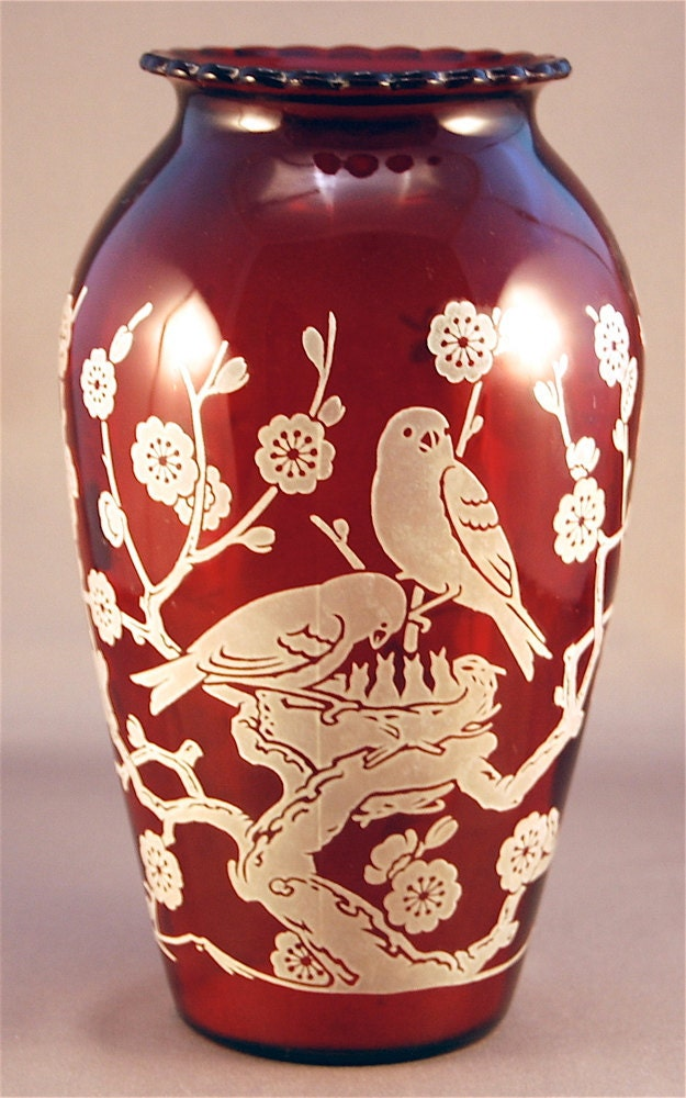 Vintage Hoover Ruby Red Vase With Birds And Tree