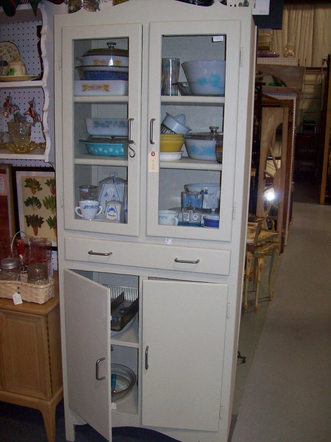 on hold for sherry sale vintage kitchen cupboard glass