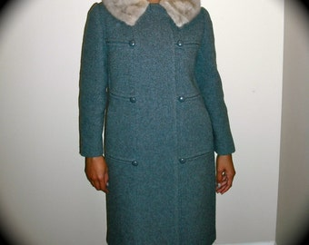 Sale was 350.00 Vtg.Wool Coat with Fur Collar