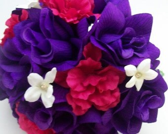 Purple Hot Pink and White Bridal Bouquets Made To Order Wedding Bouquet, Corsages, And Boutonniere Silk Wedding Flower Package 3 pieces