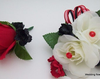 6 PieCeS CoRSaGe aND BouToNNieRe SeTS ReD BLaCK and IVoRY WeDDiNG FLoWeRS