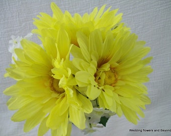 Yellow and Blue Brides Maid Bouquets Yellow Gerbera Daisies Hand Tied With Blue Ribbon and Yellow Beading