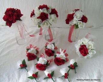 CUSTOM 13 pieces made to order Brides on a Budget  Flower Package WeDDiNG BouQuets ReD and IVoRY RoSeS