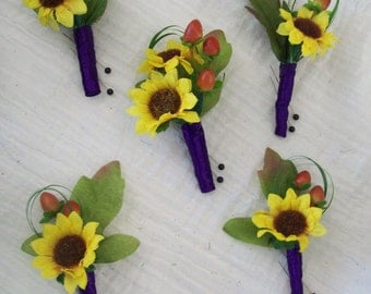 Yellow and Purple Sunflower Boutonnieres With Berries Wedding Flowers Mens Buttonholes Woodsey Fall, Summer Wedding Flowers