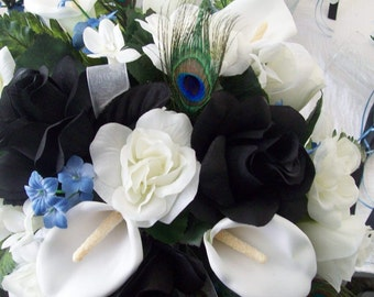 Peacock Bridal Bouquet - Peacock Boutonnieres - Cascade Peacock Bouquet - Calla Lily Bouquets - Black White Bridal Bouquets -  Made To Order