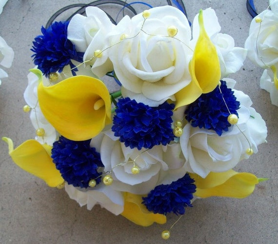 Blue And White Flowers For Weddings: Items Similar To Real Touch Roses And Calla Lilies Silk