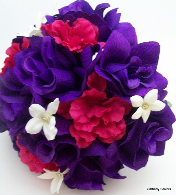 Purple Hot Pink And White Bridal Bouquets Made To Order