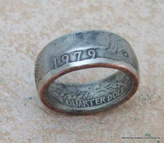 HaNDMaDe CoPPeR/NiCKLe Coin Ring 1979 Washington Quarter Jewlery Size 5 1/4